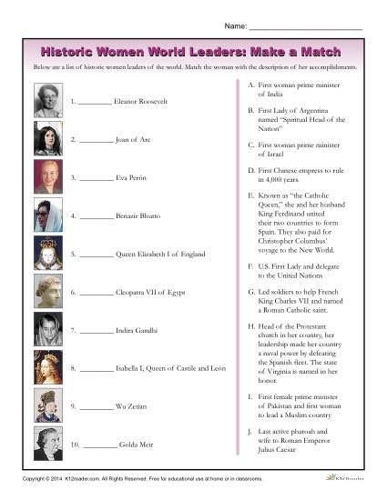 7th Grade World History Worksheets Women S History Month Worksheet