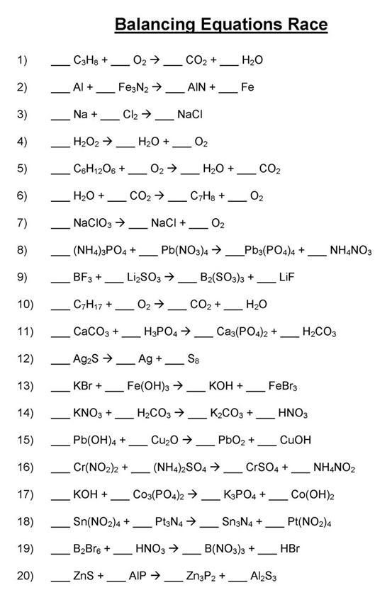 8th Grade Chemistry Worksheets Balancing Chemical Equations Mr Durdel S Chemistry