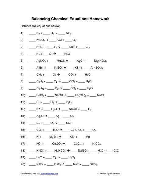 8th Grade Chemistry Worksheets Balancing Chemical Reactions Worksheets – Worksheets Samples