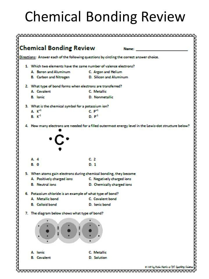 8th Grade Chemistry Worksheets Chemical Bonding Review Worksheet