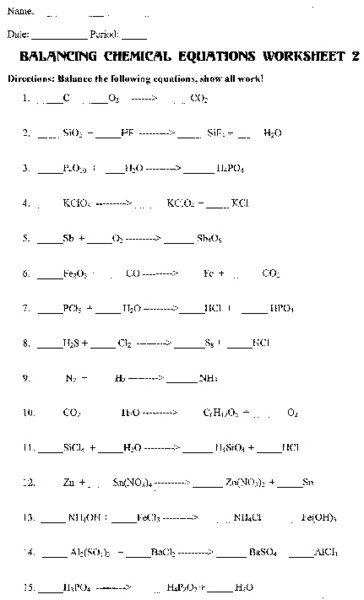 8th Grade Chemistry Worksheets Homework Help Balancing Chemical Equations HTML – Basic