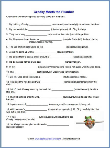 8th Grade English Worksheets Free Printable Spelling Worksheets 5th Grade Croaky Wh