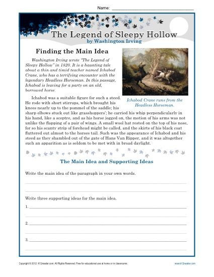 8th Grade Main Idea Worksheets Middle School Main Idea Worksheet About the Legend Of Sleepy