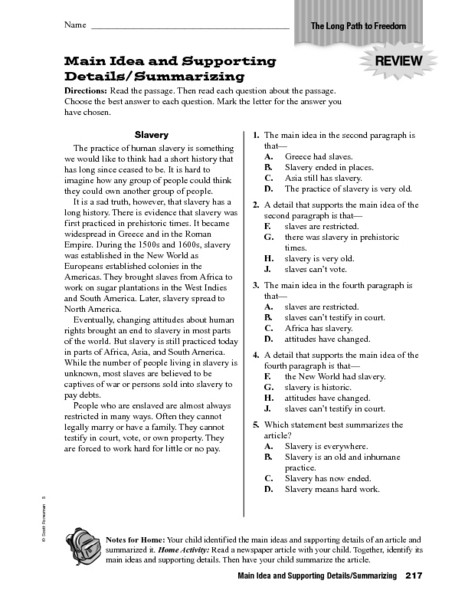 8th Grade Main Idea Worksheets Multiple Choice Main Idea Worksheets & Inferences Worksheets