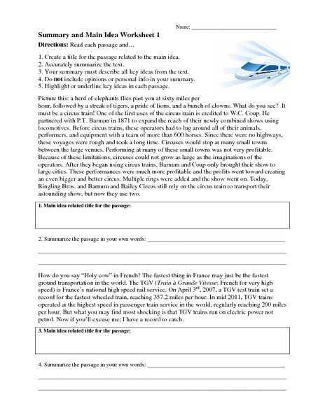 8th Grade Main Idea Worksheets Summary and Main Idea Worksheet 1 Worksheet for 4th 8th