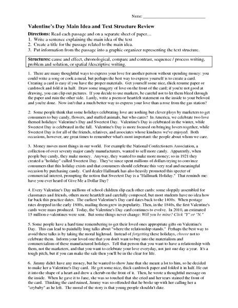 8th Grade Main Idea Worksheets Valentine S Day Main Idea and Text Structure Review