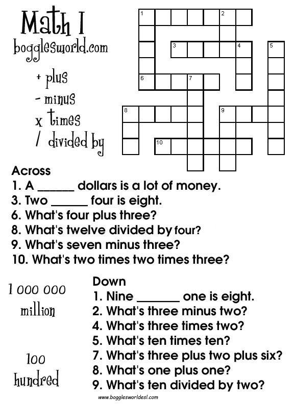 8th Grade Math Vocabulary Crossword Crosswords for Esl