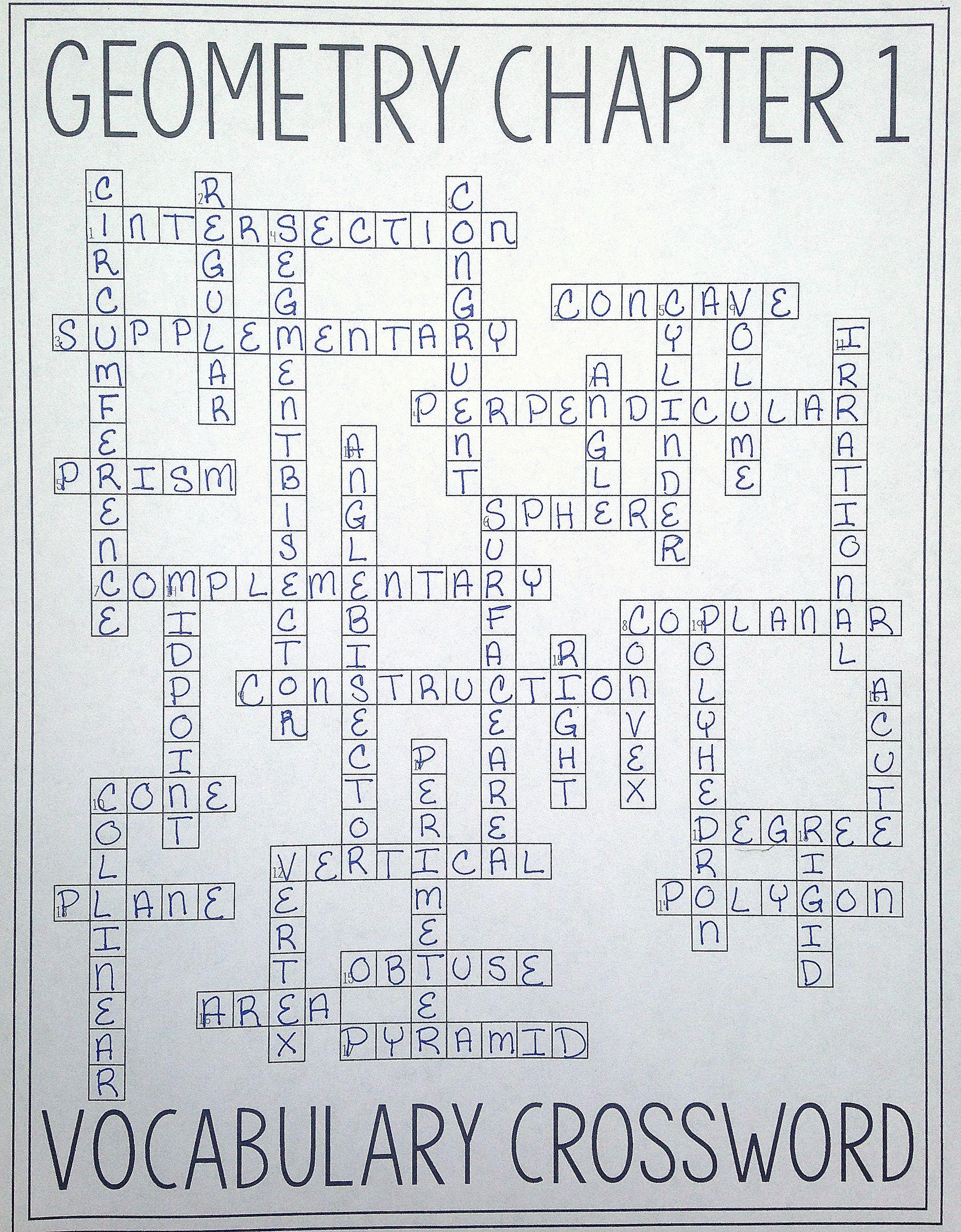8th Grade Math Vocabulary Crossword Geometry Chapter 1 Vocabulary Crossword tools Of Geometry