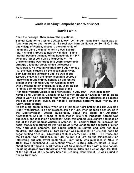 8th Grade Reading Worksheets Mark Twain Eighth Grade Reading Worksheets