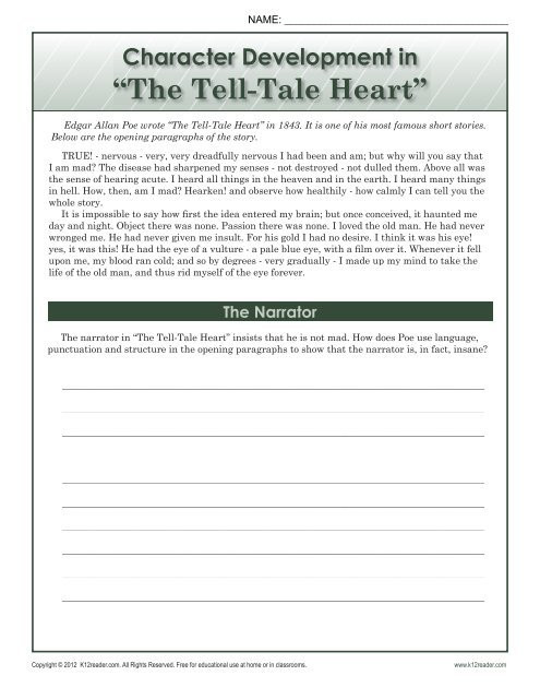 8th Grade Reading Worksheets the Tell Tale Heart