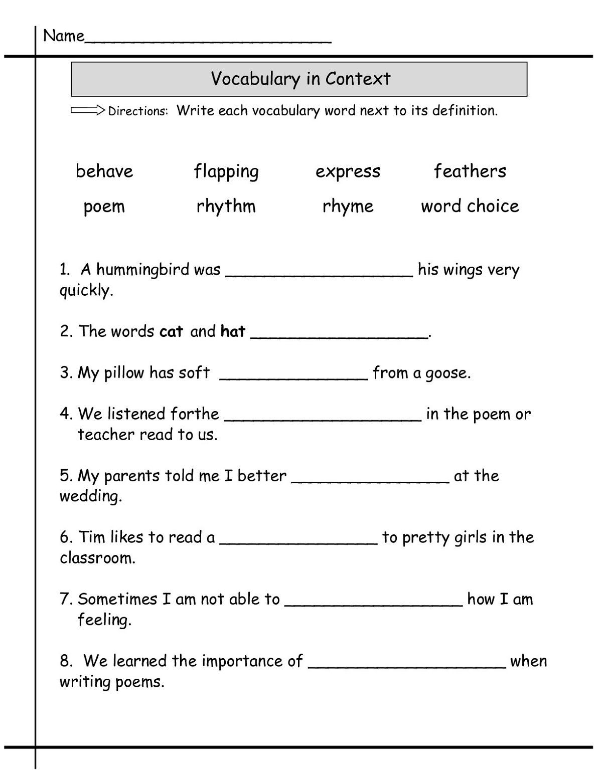 8th Grade Vocabulary Worksheets Language Worksheets English Grade 1 4