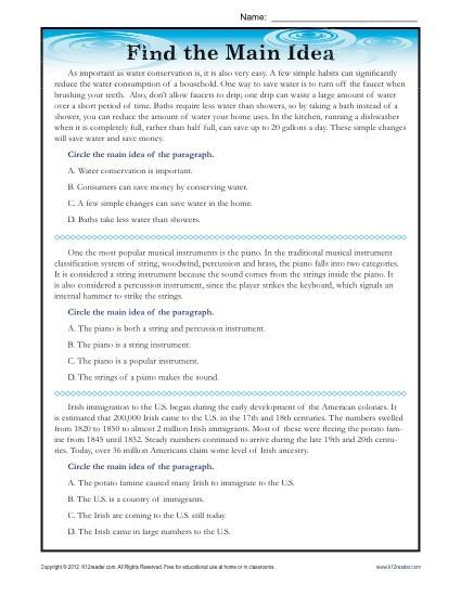 9th Grade Reading Comprehension Worksheet High School Main Idea Reading Passage Worksheet