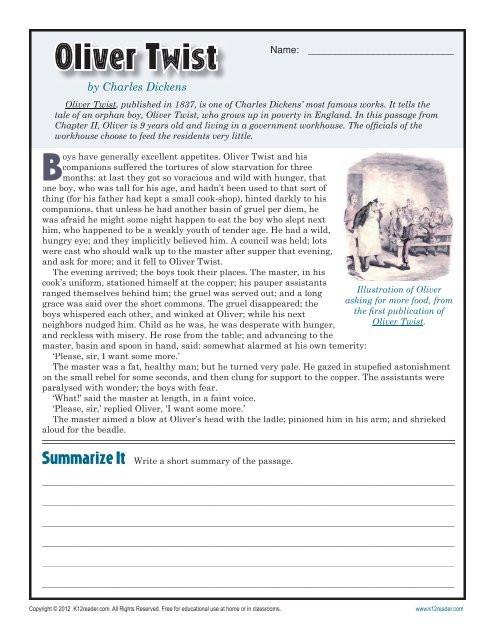 9th Grade Reading Comprehension Worksheet Oliver Twist