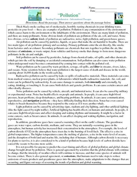 "9th Grade Reading Comprehension Worksheet Reading Prehension Informational Passages ""pollution"