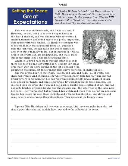 9th Grade Reading Comprehension Worksheet Setting the Scene Great Expectations