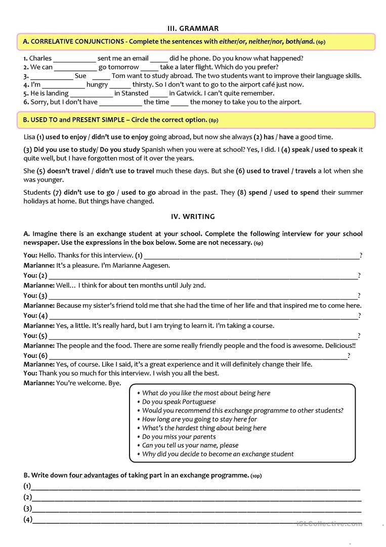 9th Grade Reading Worksheets Pin On Esl Ideas