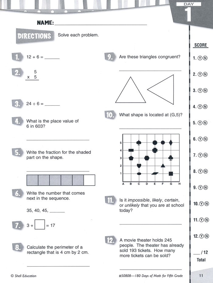 Abeka 5th Grade Math Worksheets Practice assess Diagnose 180 Days Of Math for Fifth Grade
