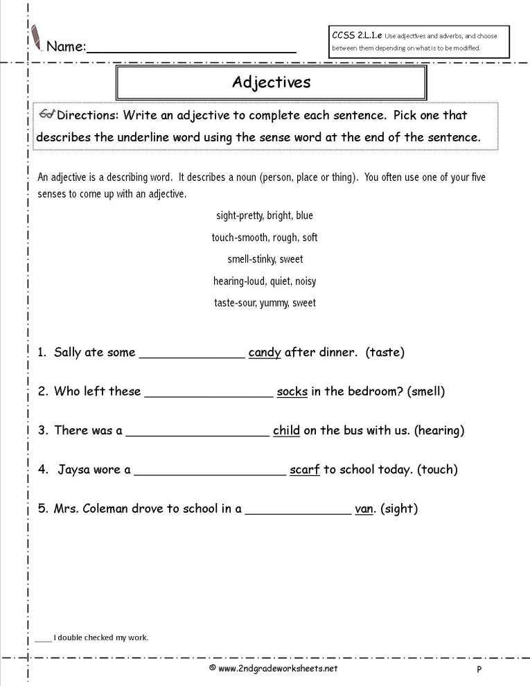 Adjective Worksheets 2nd Grade Adjective Worksheet 2nd Grade Free and Free Using Adjectives