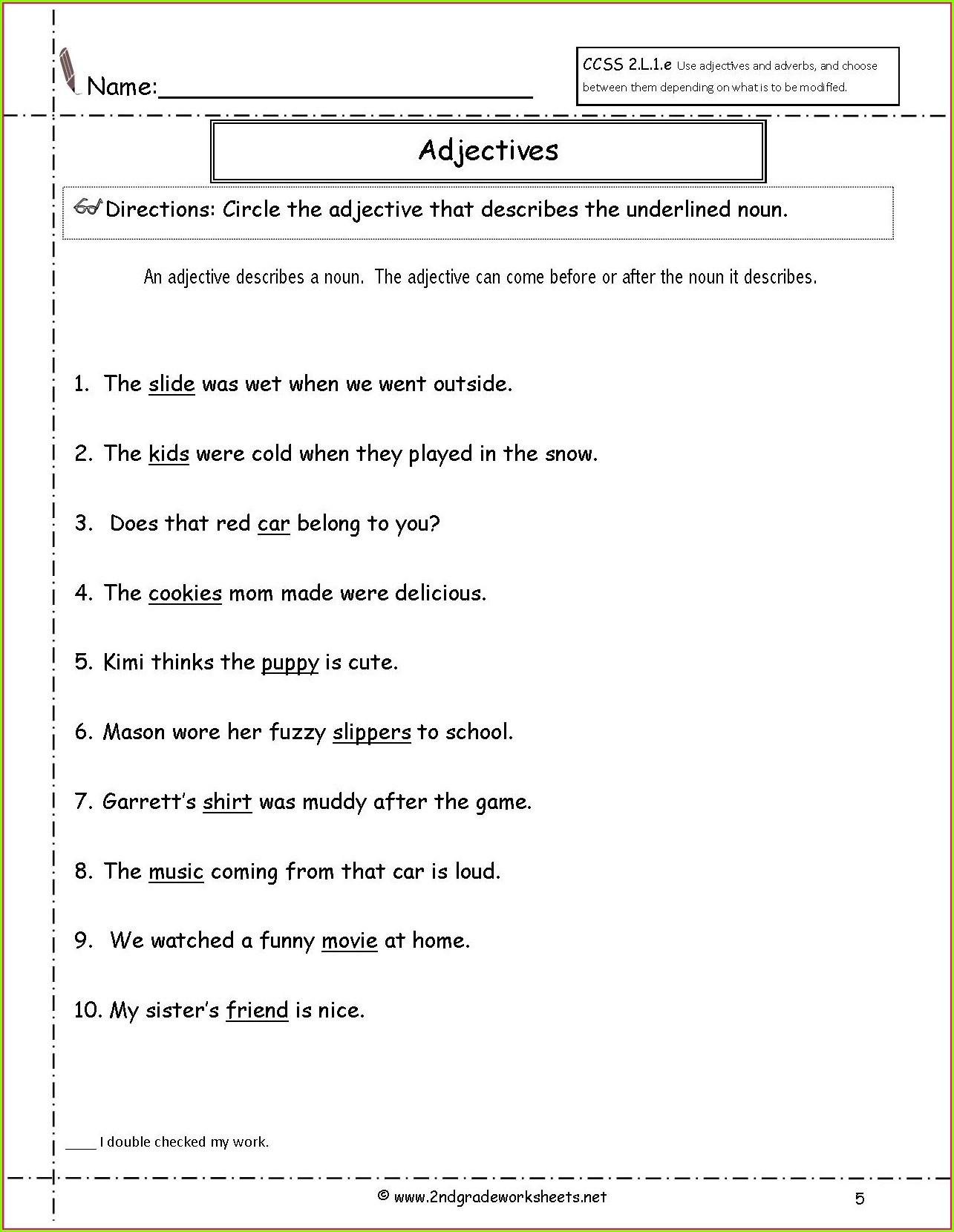 Adjective Worksheets 2nd Grade Adjective Worksheets for Grade 5