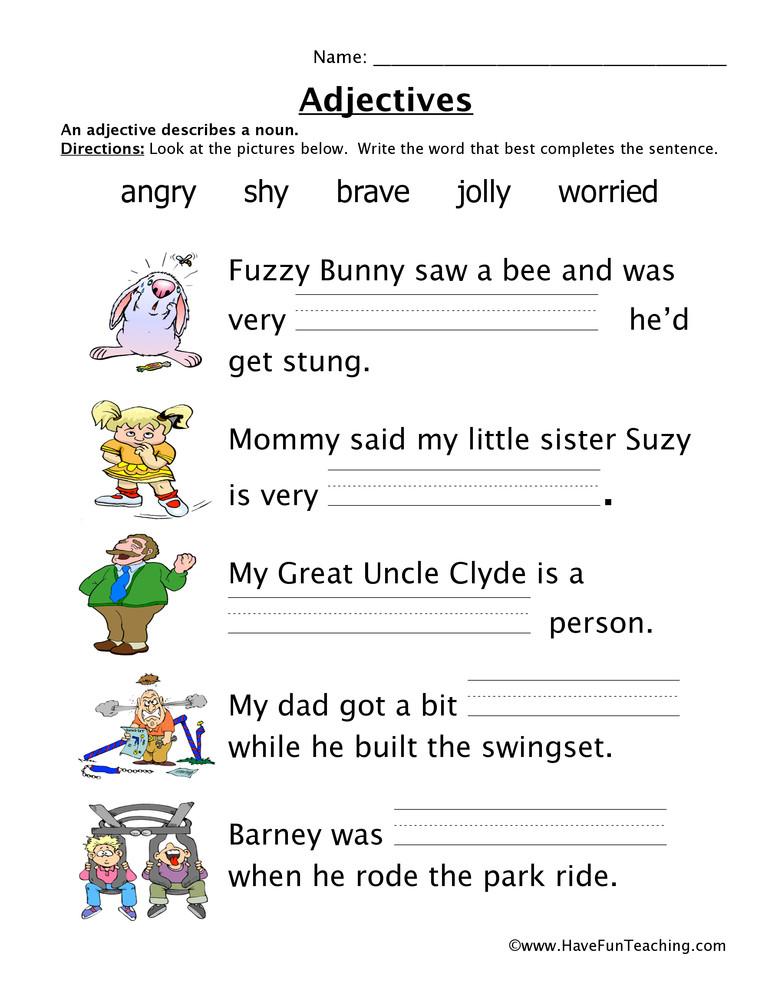 Adjective Worksheets 2nd Grade Adjectives Feelings Worksheet