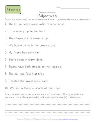 Adjective Worksheets 2nd Grade Circle the Adjectives Worksheet 1