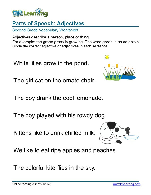 Adjectives Worksheets for Grade 1 2nd Grade Circle Adjective 3