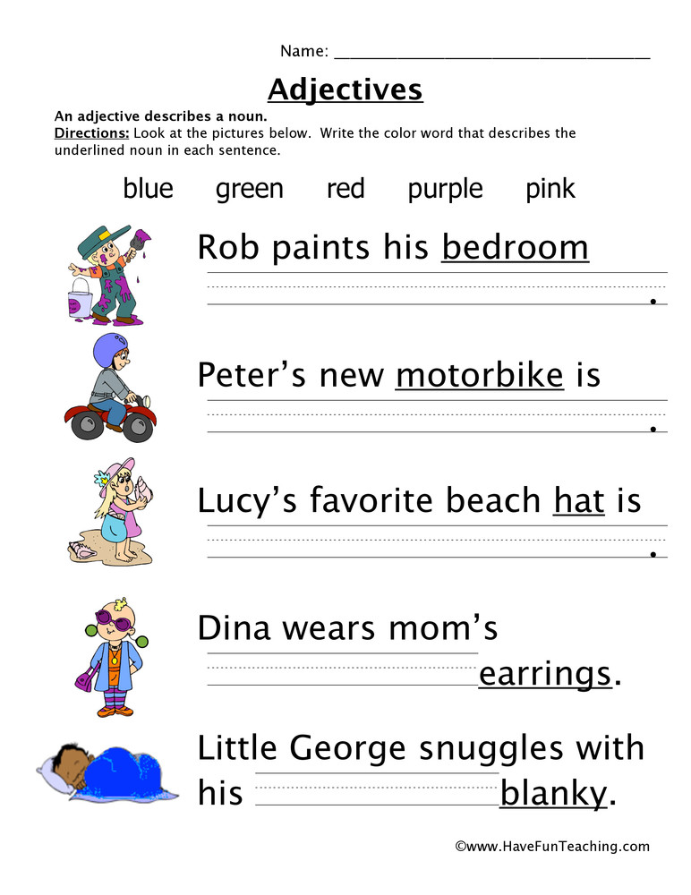 Adjectives Worksheets for Grade 1 Adjectives Colors Worksheet