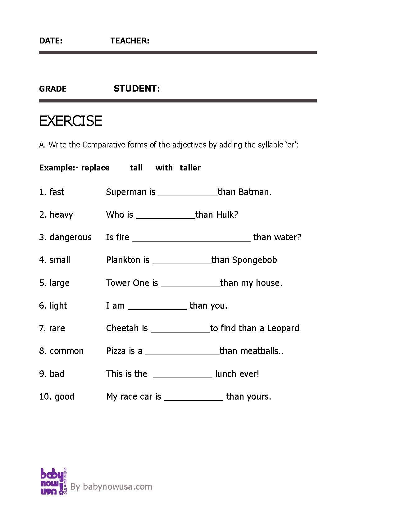 Adjectives Worksheets for Grade 1 Adjectives Parative Adjective Worksheet for Grade 3