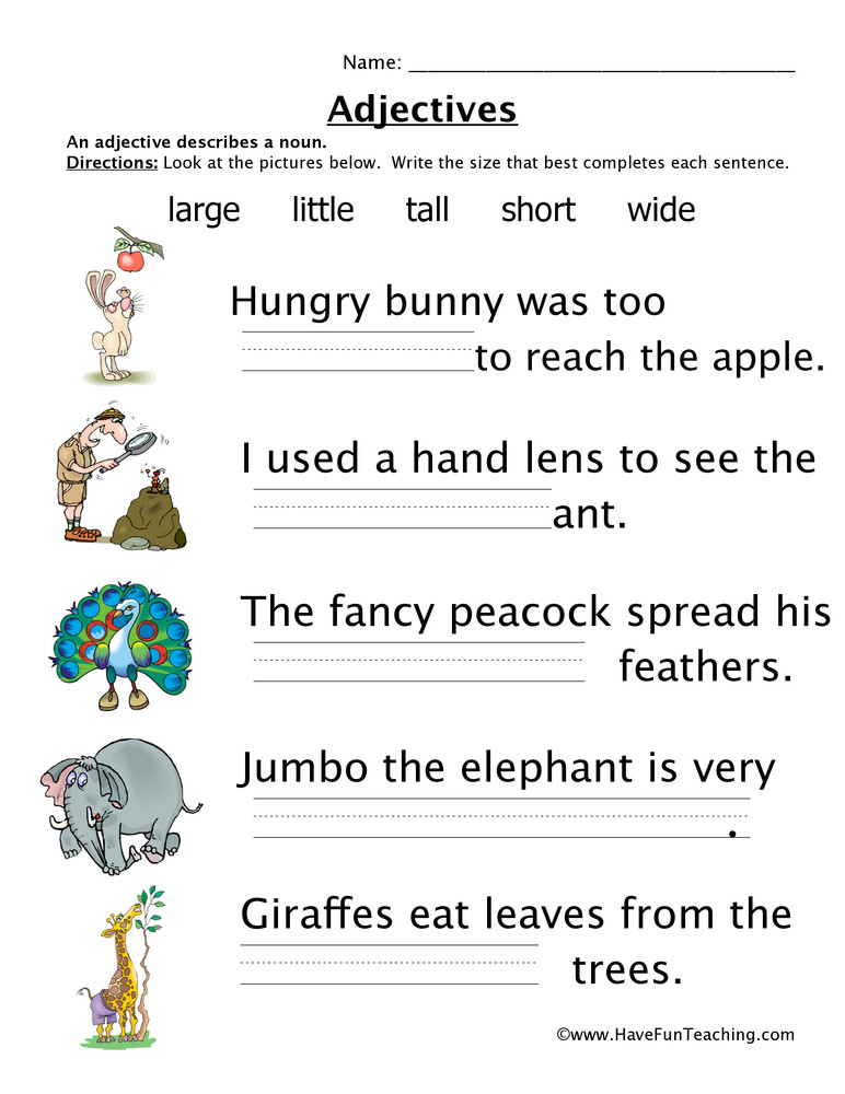 Adjectives Worksheets for Grade 1 Adjectives Size Worksheet
