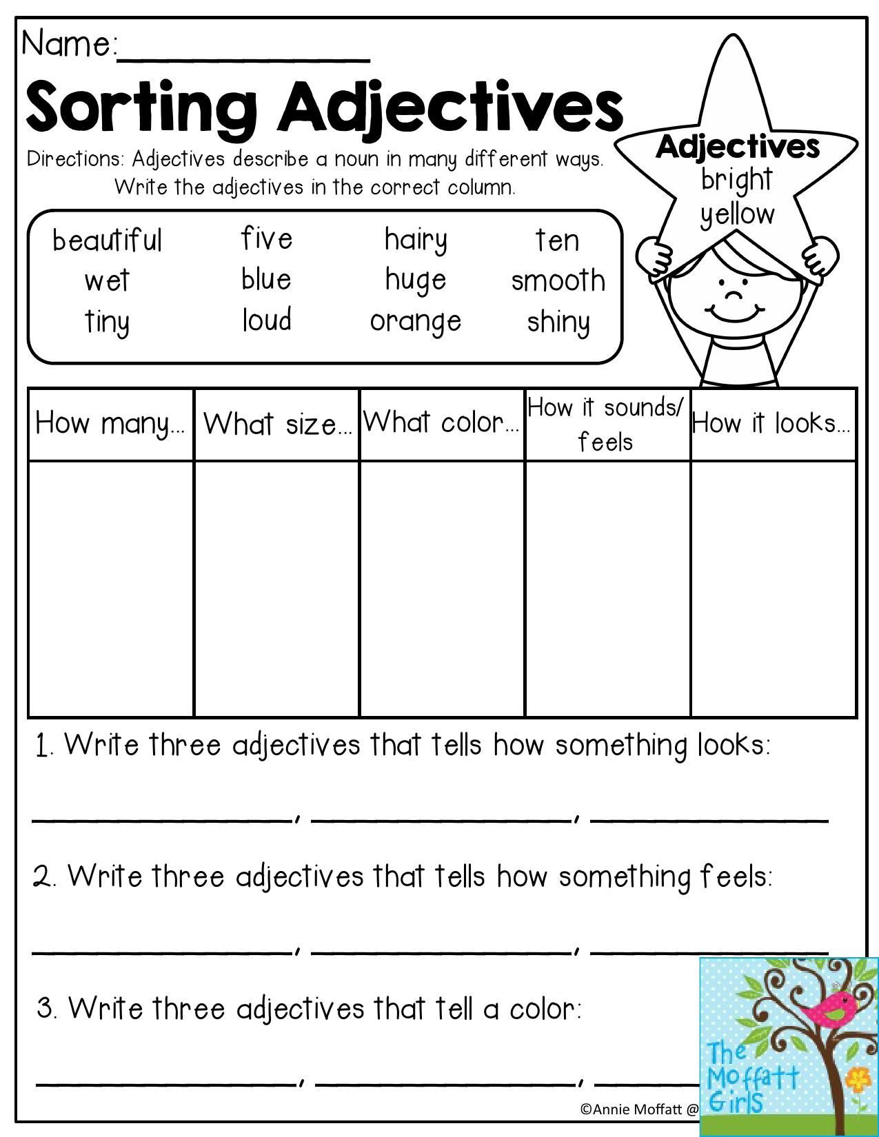 Adjectives Worksheets for Grade 1 Back to School Packets