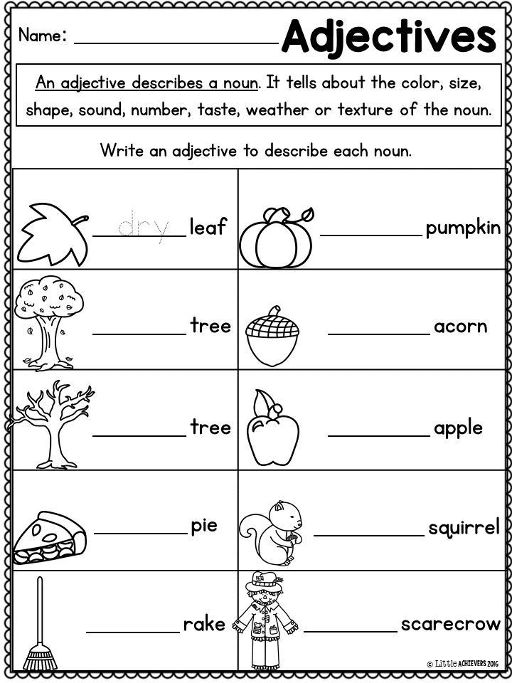Adjectives Worksheets for Grade 1 Fall Activities for First Grade Math Worksheets and Literacy