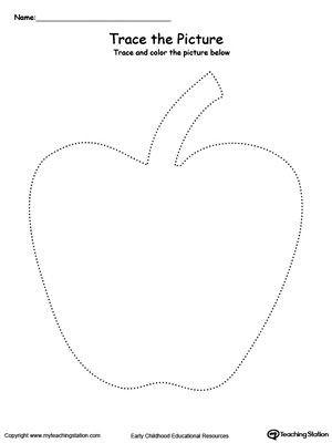 Apple Worksheets Preschool Apple Picture Tracing