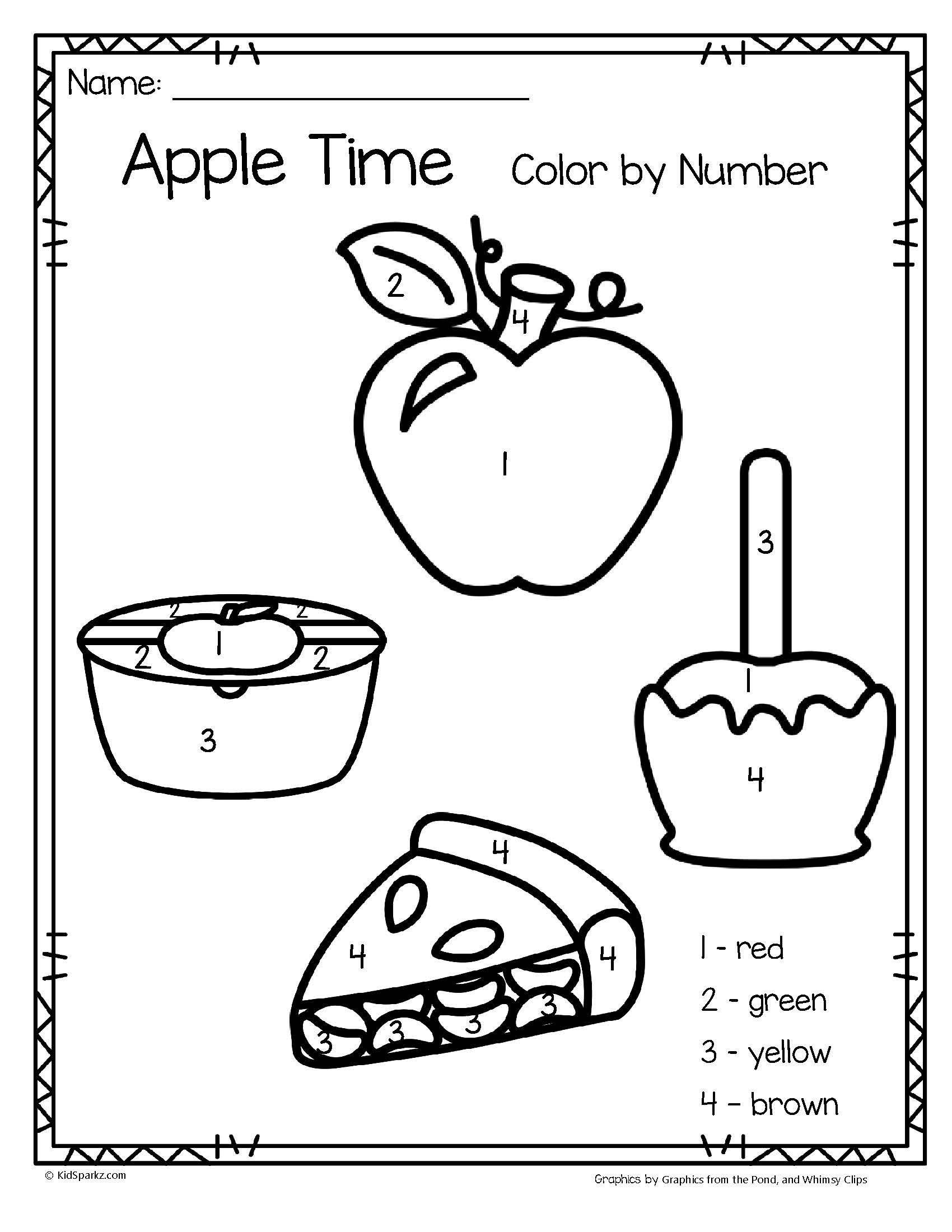 Apple Worksheets Preschool Apple Time Color by Number Printables 3 Pages