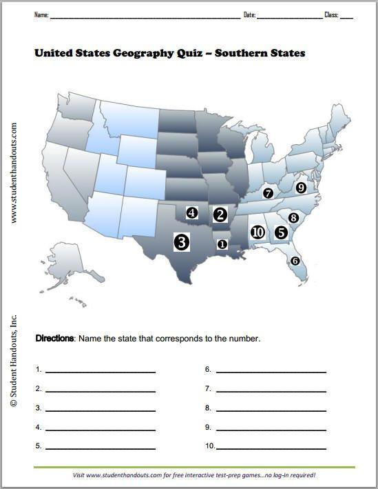 Blank Us Map Quiz Printable southern States Printable Map Quiz Free to Print Pdf File