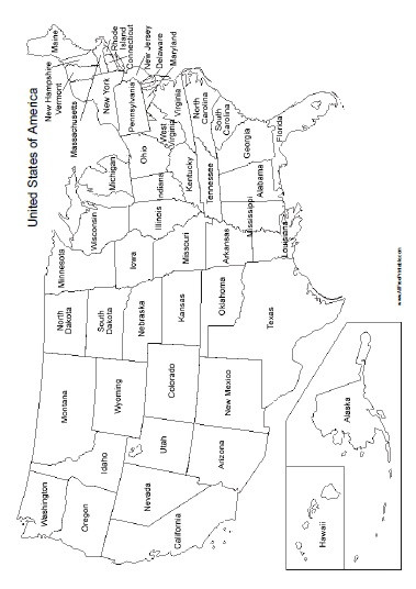 Blank Us Map Quiz Printable United States Map with States Names Free Printable