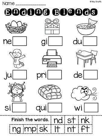 Blends Worksheet for First Grade Ending Blends Worksheets and Activities
