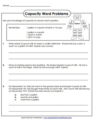 Capacity Worksheets 3rd Grade Capacity Worksheets Gallons Quarts Pints and Cups