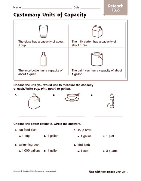 Capacity Worksheets 3rd Grade Customary Units Of Capacity Reteach Worksheet for 2nd 3rd