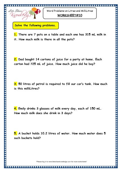Capacity Worksheets 3rd Grade Grade 3 Maths Worksheets 13 6 Measurement Of Capacity