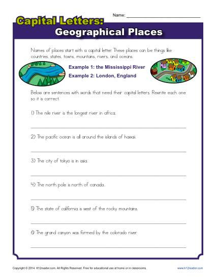 Capitalization Worksheets 4th Grade Capitalization Worksheet Geographical Places