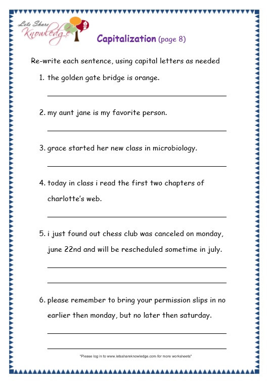 Capitalization Worksheets 4th Grade Grade 3 Grammar topic 29 Capitalization Worksheets
