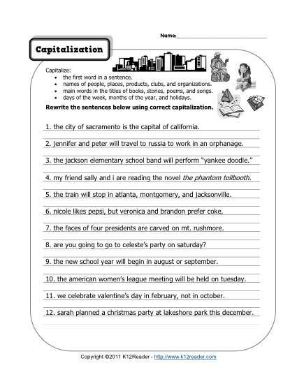 Capitalization Worksheets for 2nd Grade Capitalization