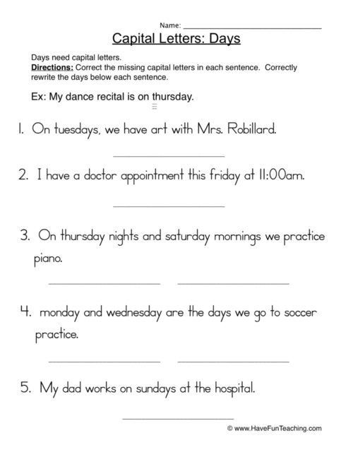 Capitalization Worksheets for 2nd Grade Capitalization Worksheets • Have Fun Teaching
