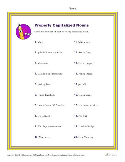 Capitalization Worksheets for 2nd Grade which Of the Following Nouns is Properly Capitalized