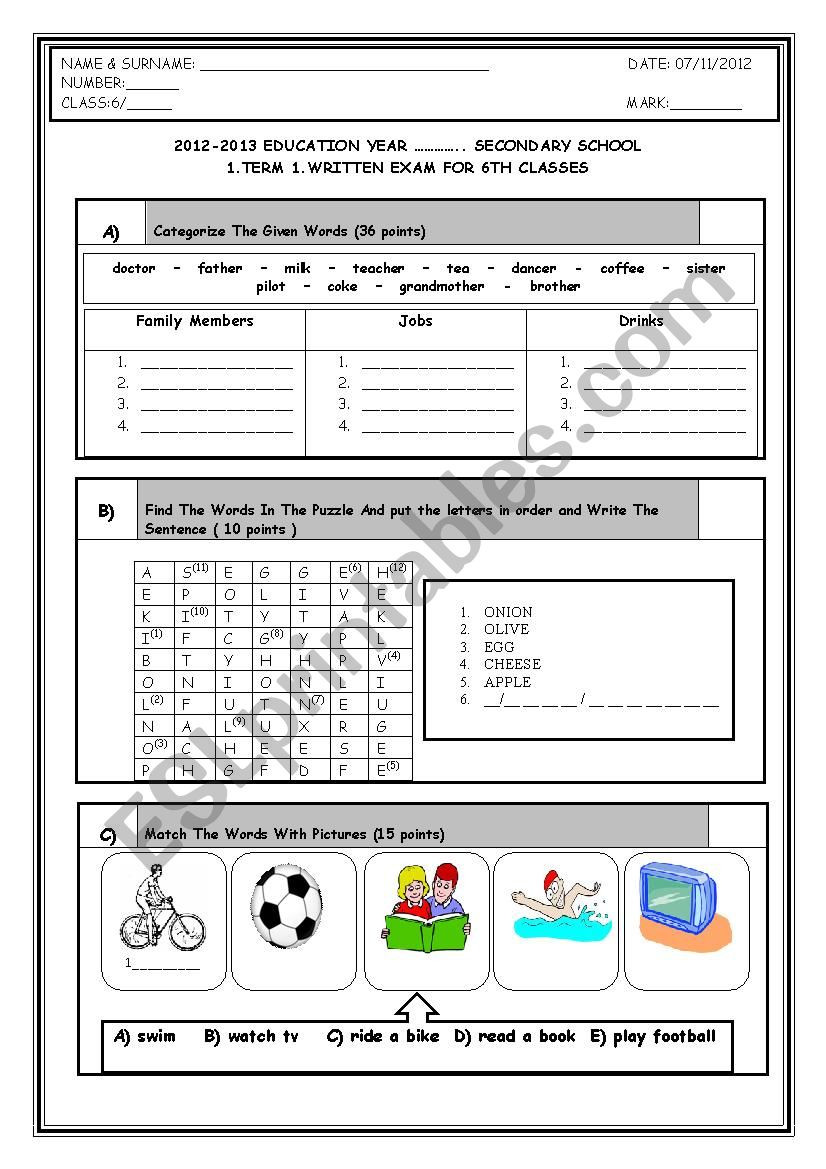 Categorizing Worksheets for 1st Grade 6th Grade 1st Term 1st Exam Esl Worksheet by Adrenalin83