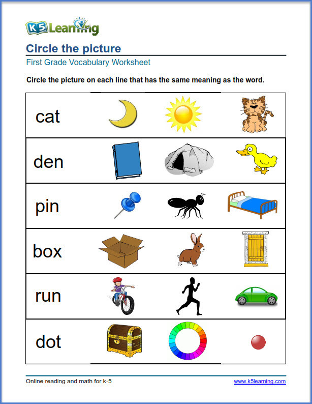Categorizing Worksheets for 1st Grade First Grade Vocabulary Worksheets – Printable and organized