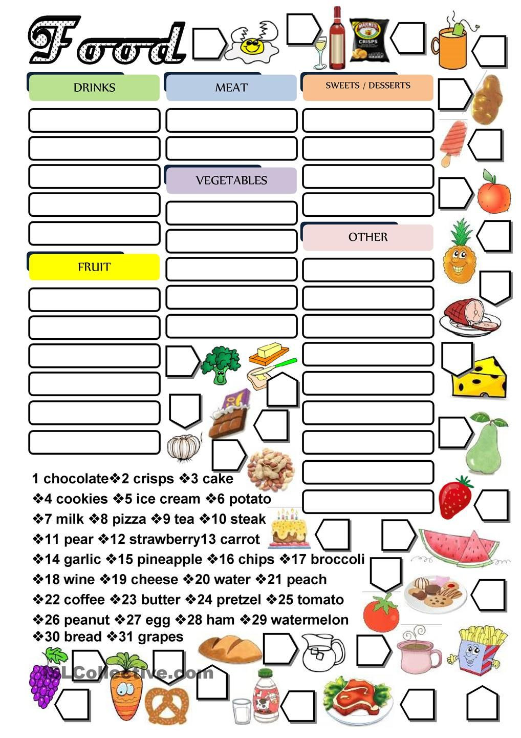 Categorizing Worksheets for 1st Grade Food Categorization