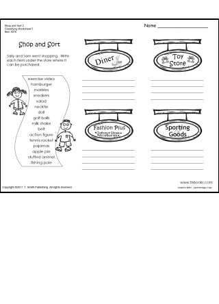 Categorizing Worksheets for 1st Grade Shop and sort Classifying Worksheet