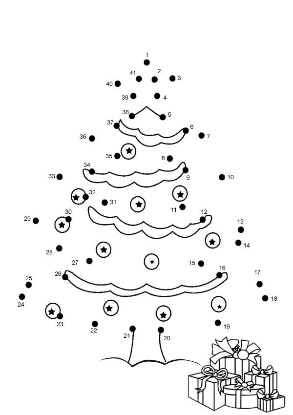 Christmas Connect the Dots Printable Pisteestä Pisteeseen