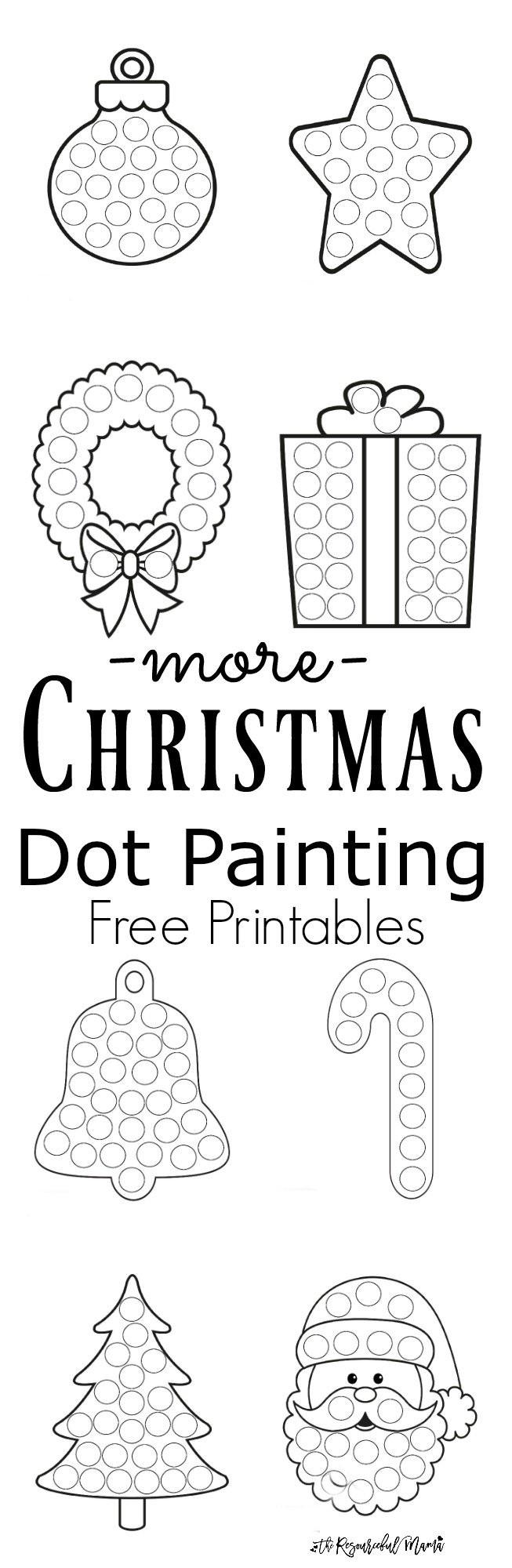 Christmas Dot to Dot Printables More Christmas Dot Painting Free Printables the